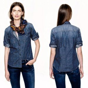 J. Crew Keeper Chambray Star Adorned Top Size 00